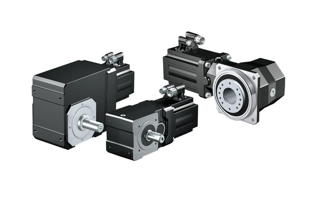 Kegelradgetriebe und Synchron-Servomotoren als kompakte Einheit mit sehr günstigen Einbaumaßen und hoher Leistungsdichte.
